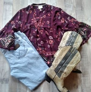KNOX ROSE Burgundy Bell Sleeves Floral Tunic M